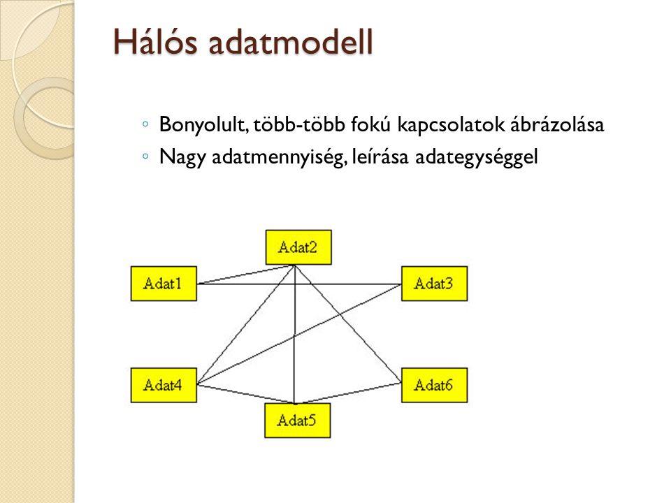 Hálós adatmodell ◦ Bonyolult, több-több fokú kapcsolatok ábrázolása ◦ Nagy adatmennyiség, leírása adategységgel