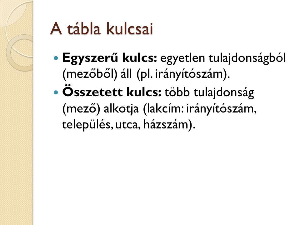 A tábla kulcsai  Egyszerű kulcs: egyetlen tulajdonságból (mezőből) áll (pl.