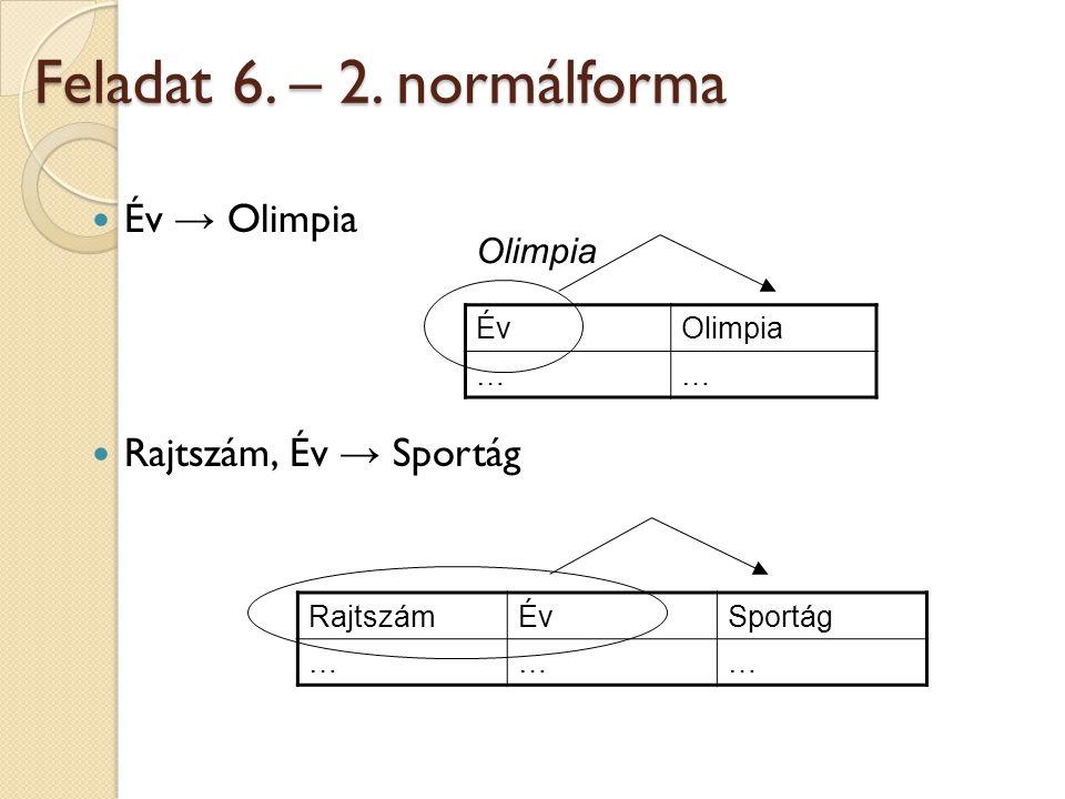 Feladat 6. – 2. normálforma  Év → Olimpia  Rajtszám, Év → Sportág RajtszámÉvSportág ……… ÉvOlimpia ……