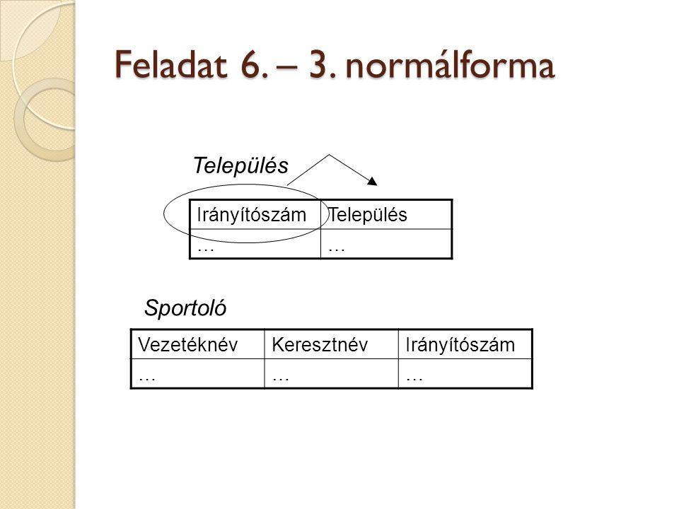 Feladat 6. – 3. normálforma IrányítószámTelepülés …… VezetéknévKeresztnévIrányítószám ……… Sportoló