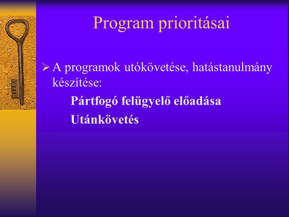 Program prioritásai  A programok utókövetése, hatástanulmány készítése: Pártfogó felügyelő előadása Utánkövetés