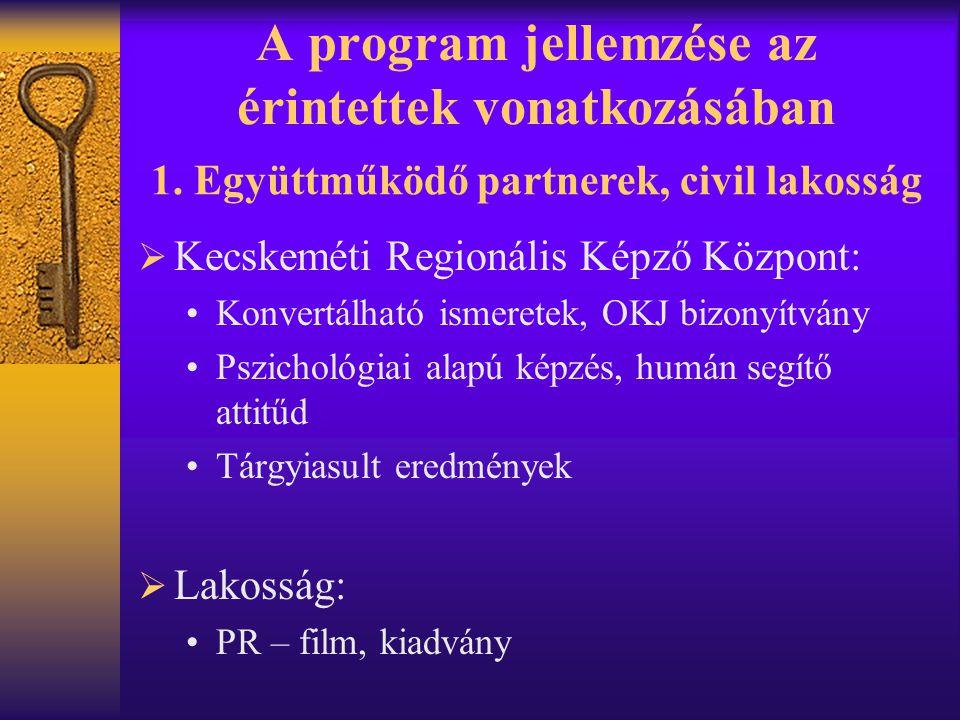 A program jellemzése az érintettek vonatkozásában  Kecskeméti Regionális Képző Központ: •Konvertálható ismeretek, OKJ bizonyítvány •Pszichológiai ala