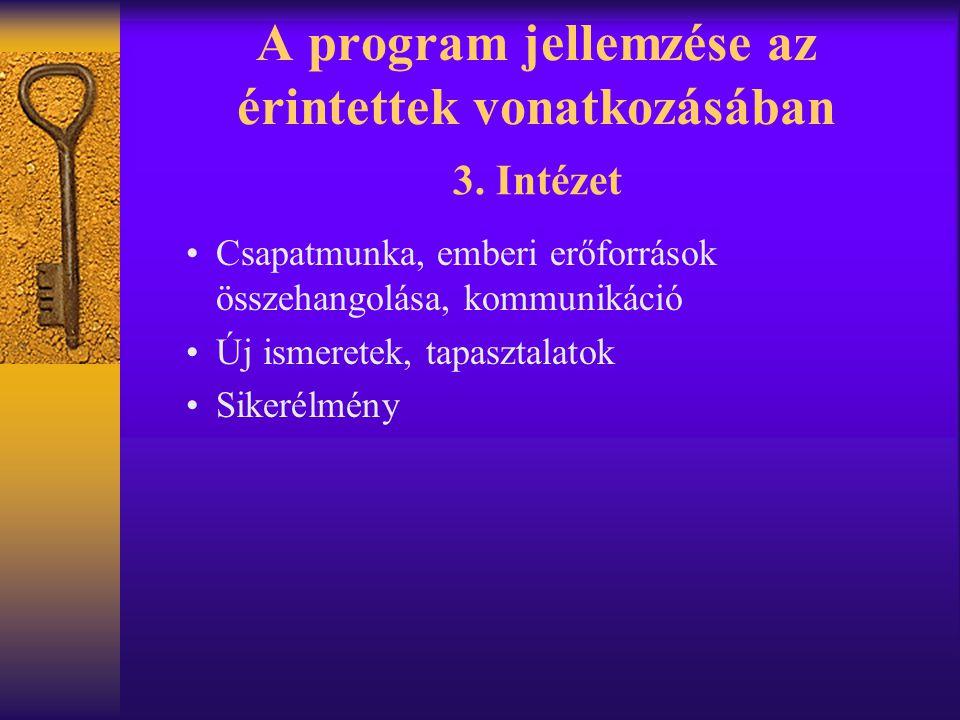 A program jellemzése az érintettek vonatkozásában •Csapatmunka, emberi erőforrások összehangolása, kommunikáció •Új ismeretek, tapasztalatok •Sikerélm