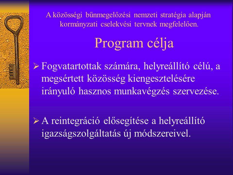 Program célja  Fogvatartottak számára, helyreállító célú, a megsértett közösség kiengesztelésére irányuló hasznos munkavégzés szervezése.  A reinteg