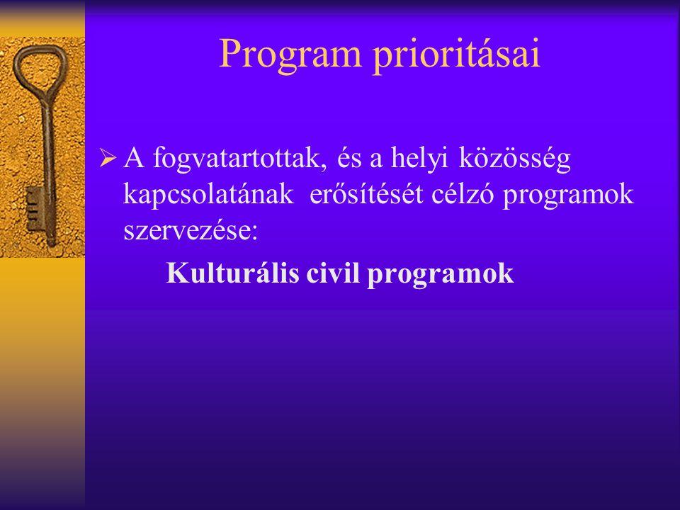 Program prioritásai  A fogvatartottak, és a helyi közösség kapcsolatának erősítését célzó programok szervezése: Kulturális civil programok
