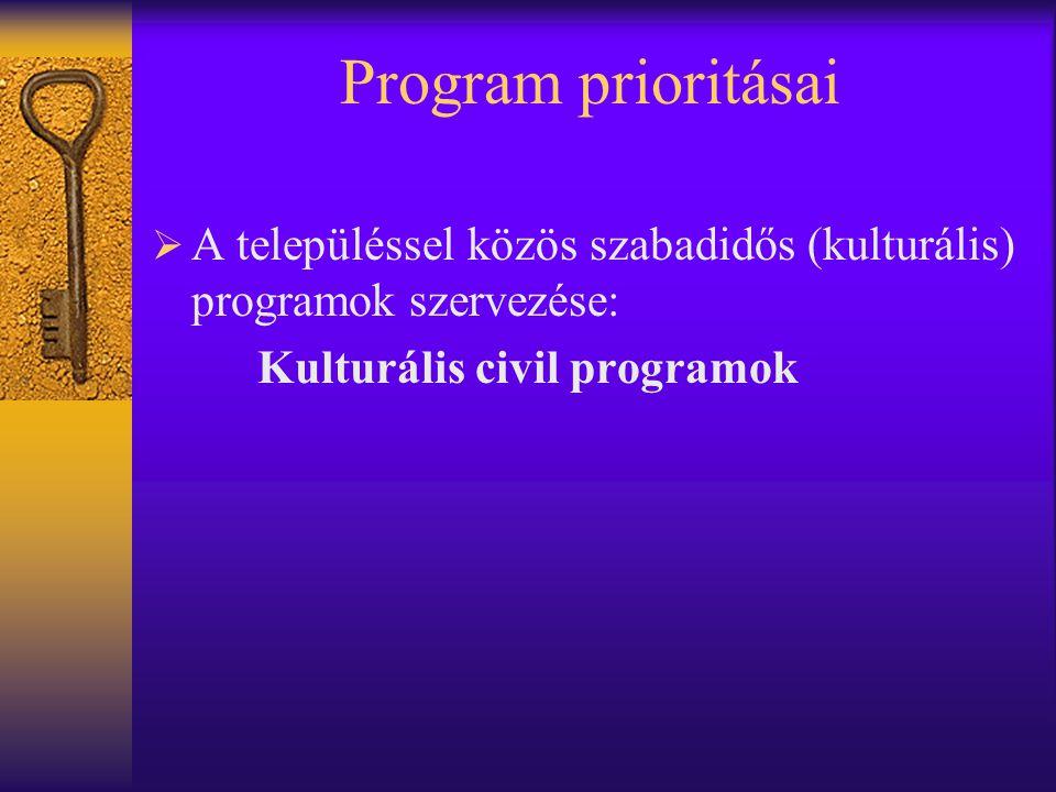 Program prioritásai  A településsel közös szabadidős (kulturális) programok szervezése: Kulturális civil programok