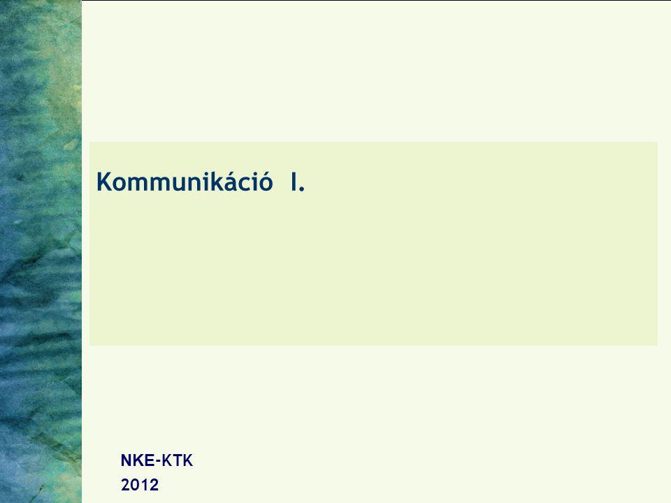 Kommunikáció I. NKE -K T K 201 2