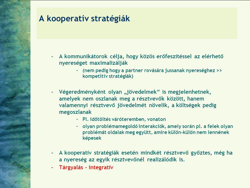 A kooperatív stratégiák –A kommunikátorok célja, hogy közös erőfeszítéssel az elérhető nyereséget maximalizálják –(nem pedig hogy a partner rovására j