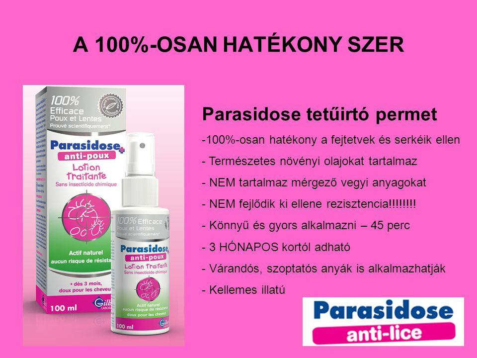 A 100%-OSAN HATÉKONY SZER Parasidose tetűirtó permet -100%-osan hatékony a fejtetvek és serkéik ellen - Természetes növényi olajokat tartalmaz - NEM t