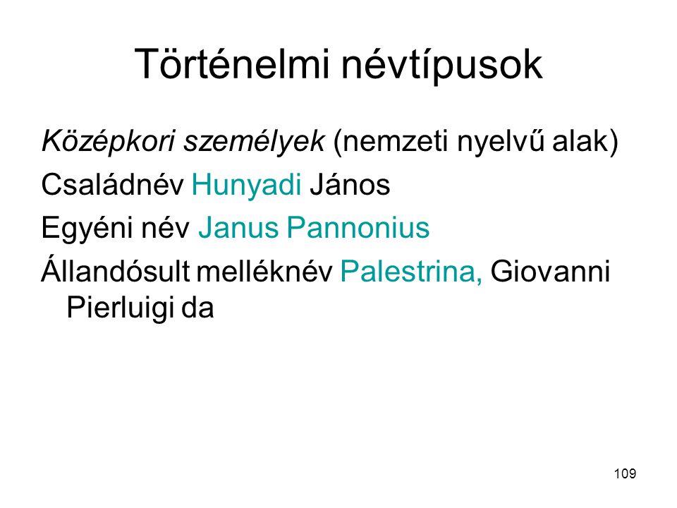 109 Történelmi névtípusok Középkori személyek (nemzeti nyelvű alak) Családnév Hunyadi János Egyéni név Janus Pannonius Állandósult melléknév Palestrin