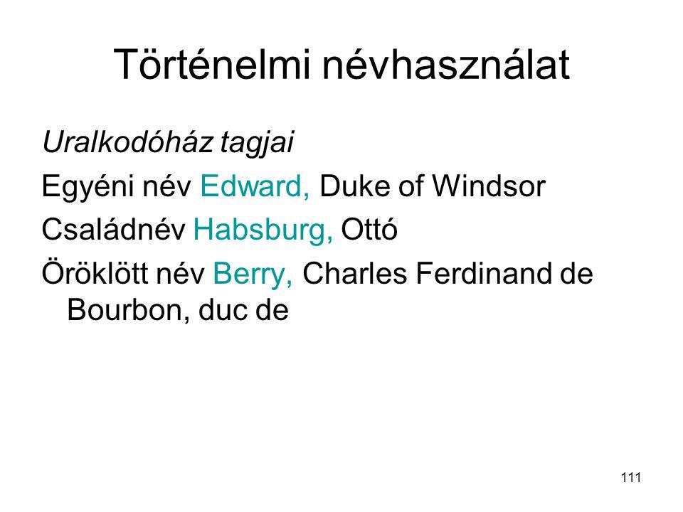 111 Történelmi névhasználat Uralkodóház tagjai Egyéni név Edward, Duke of Windsor Családnév Habsburg, Ottó Öröklött név Berry, Charles Ferdinand de Bo
