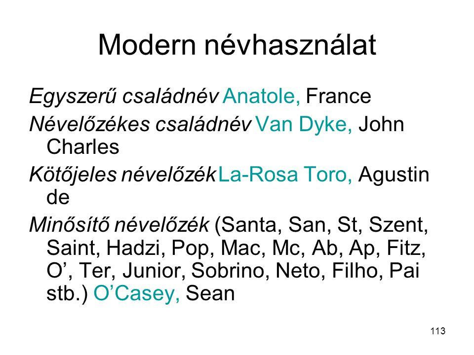 113 Modern névhasználat Egyszerű családnév Anatole, France Névelőzékes családnév Van Dyke, John Charles Kötőjeles névelőzékLa-Rosa Toro, Agustin de Mi