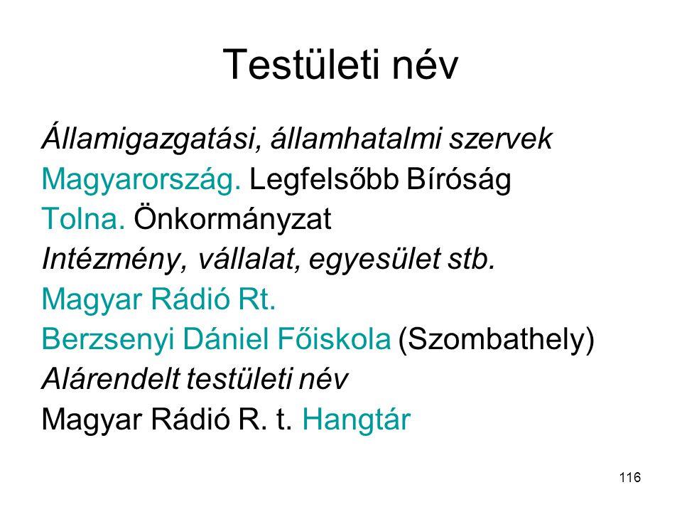 116 Testületi név Államigazgatási, államhatalmi szervek Magyarország. Legfelsőbb Bíróság Tolna. Önkormányzat Intézmény, vállalat, egyesület stb. Magya