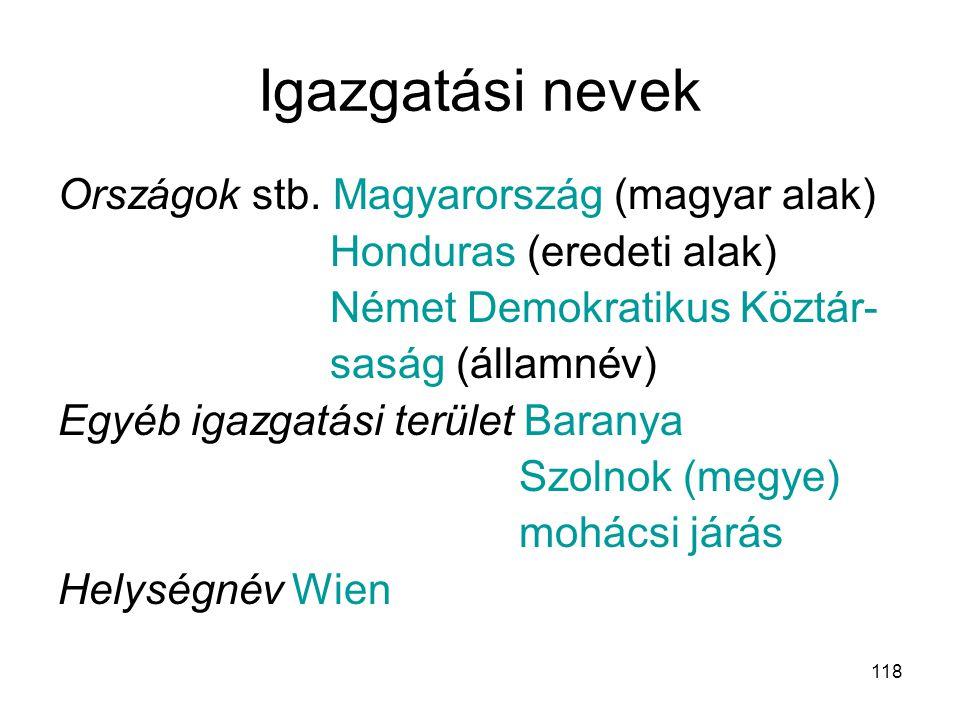 118 Igazgatási nevek Országok stb. Magyarország (magyar alak) Honduras (eredeti alak) Német Demokratikus Köztár- saság (államnév) Egyéb igazgatási ter