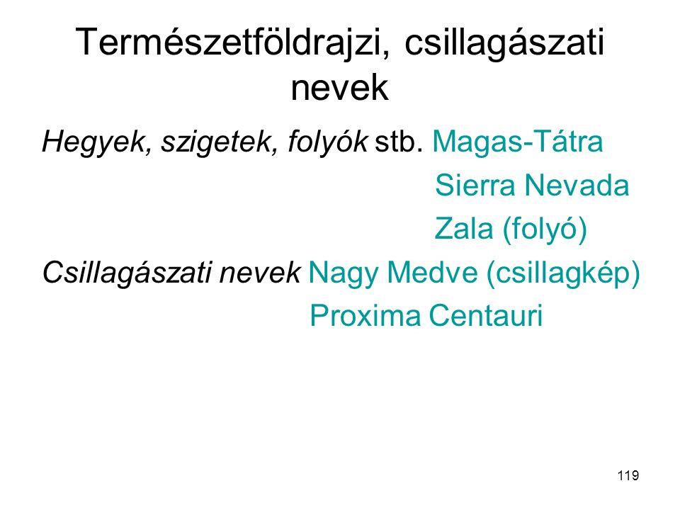 119 Természetföldrajzi, csillagászati nevek Hegyek, szigetek, folyók stb. Magas-Tátra Sierra Nevada Zala (folyó) Csillagászati nevek Nagy Medve (csill
