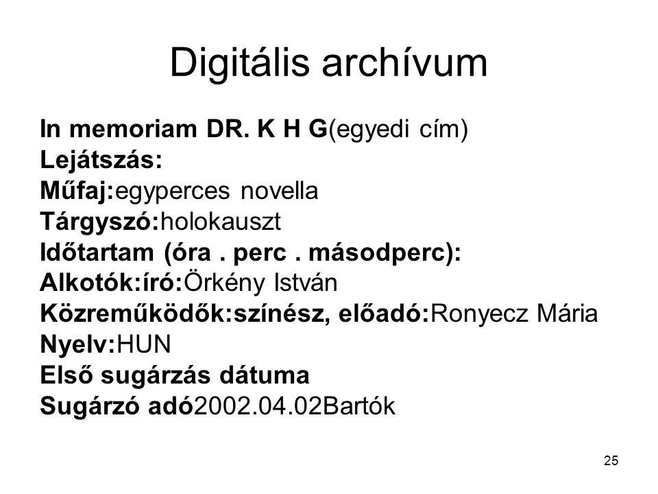 25 Digitális archívum In memoriam DR. K H G(egyedi cím) Lejátszás: Műfaj:egyperces novella Tárgyszó:holokauszt Időtartam (óra. perc. másodperc): Alkot