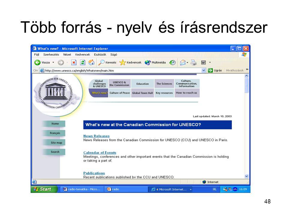 48 Több forrás - nyelv és írásrendszer