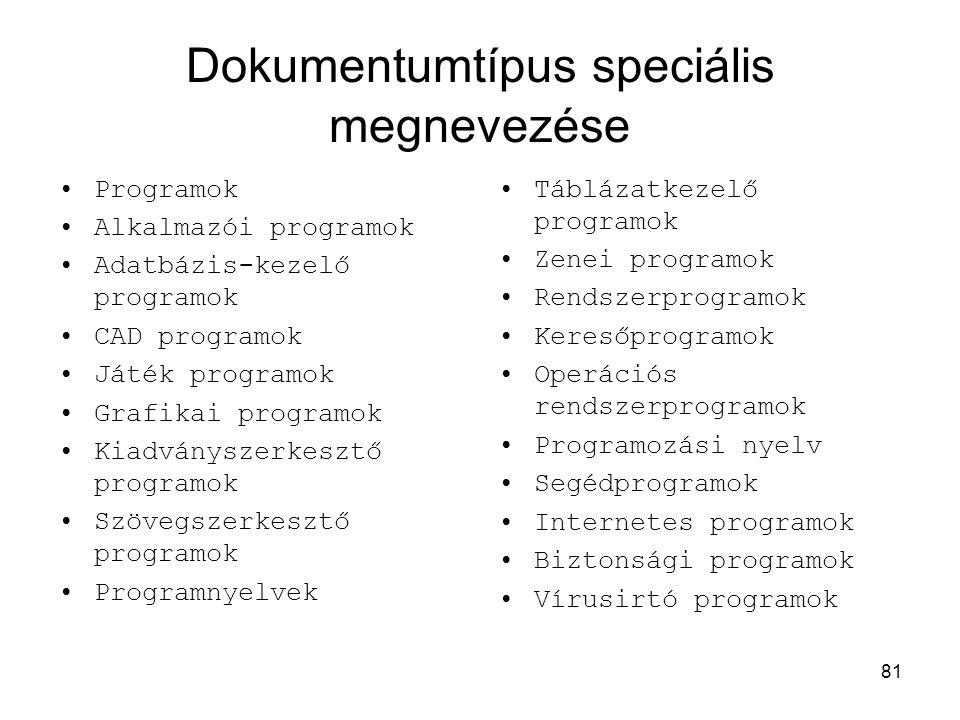 81 Dokumentumtípus speciális megnevezése •Programok •Alkalmazói programok •Adatbázis-kezelő programok •CAD programok •Játék programok •Grafikai progra