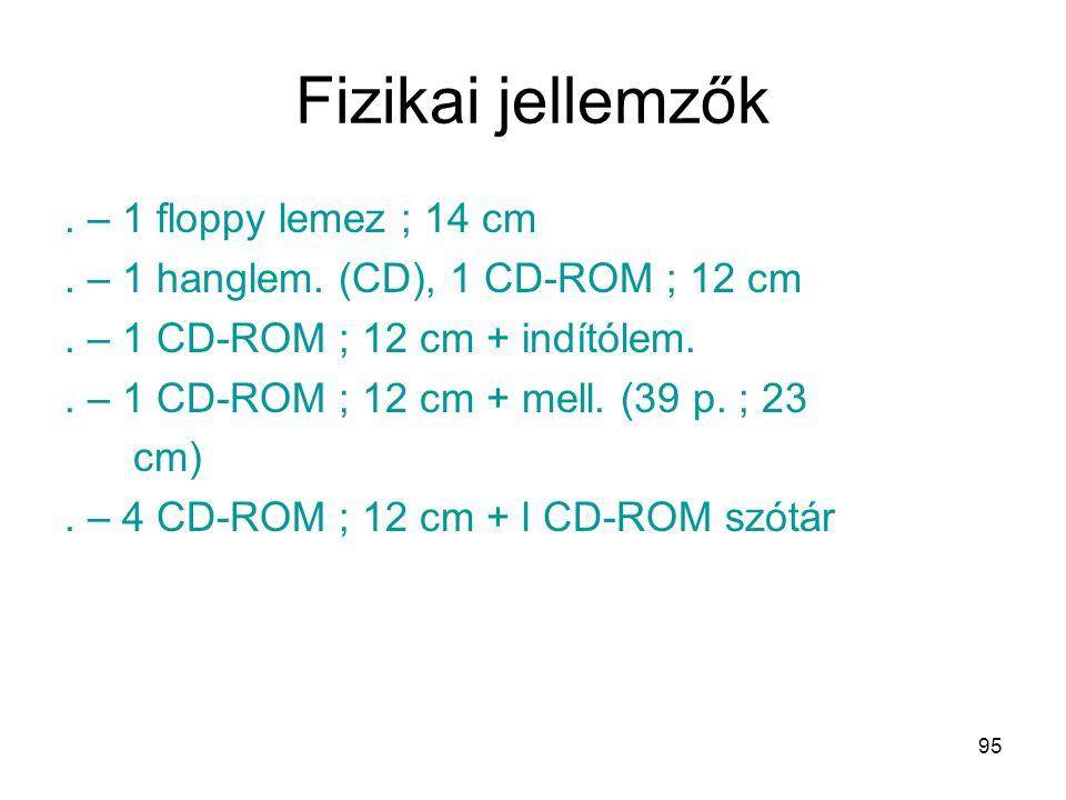 95 Fizikai jellemzők. – 1 floppy lemez ; 14 cm. – 1 hanglem. (CD), 1 CD-ROM ; 12 cm. – 1 CD-ROM ; 12 cm + indítólem.. – 1 CD-ROM ; 12 cm + mell. (39 p
