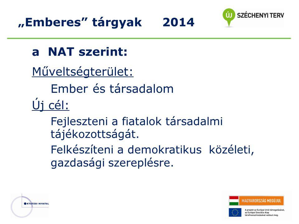 a NAT szerint: Műveltségterület: Ember és társadalom Új cél: Fejleszteni a fiatalok társadalmi tájékozottságát. Felkészíteni a demokratikus közéleti,