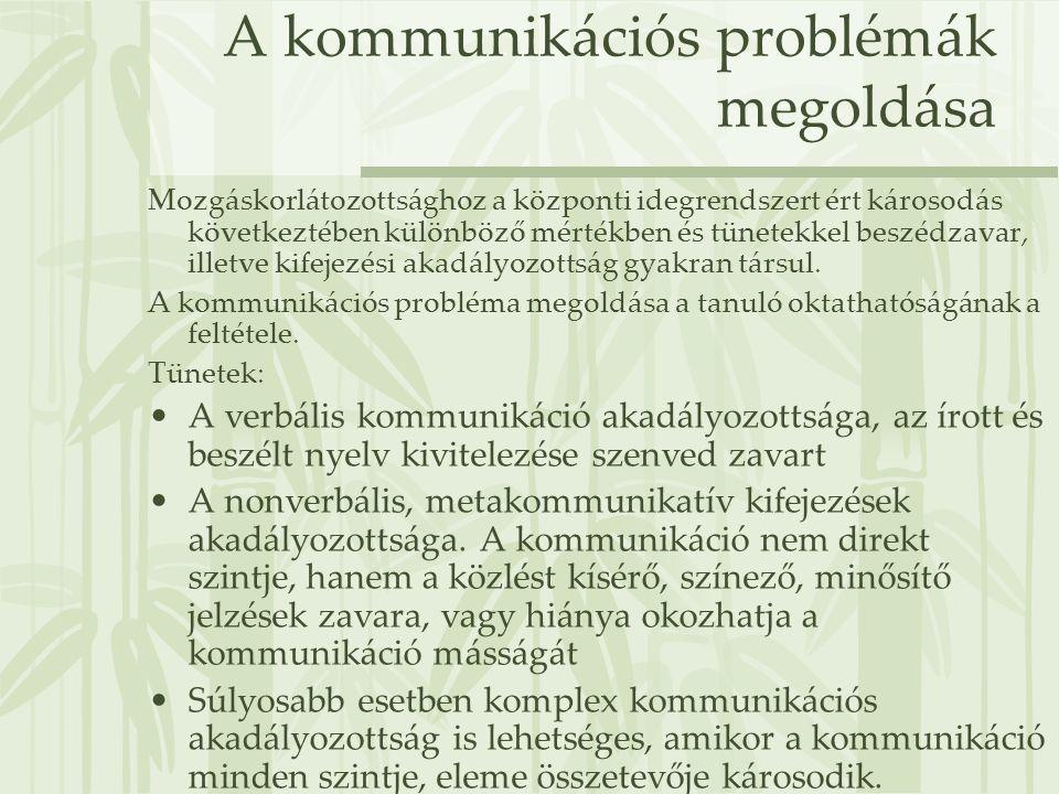 A kommunikációs problémák megoldása Mozgáskorlátozottsághoz a központi idegrendszert ért károsodás következtében különböző mértékben és tünetekkel bes