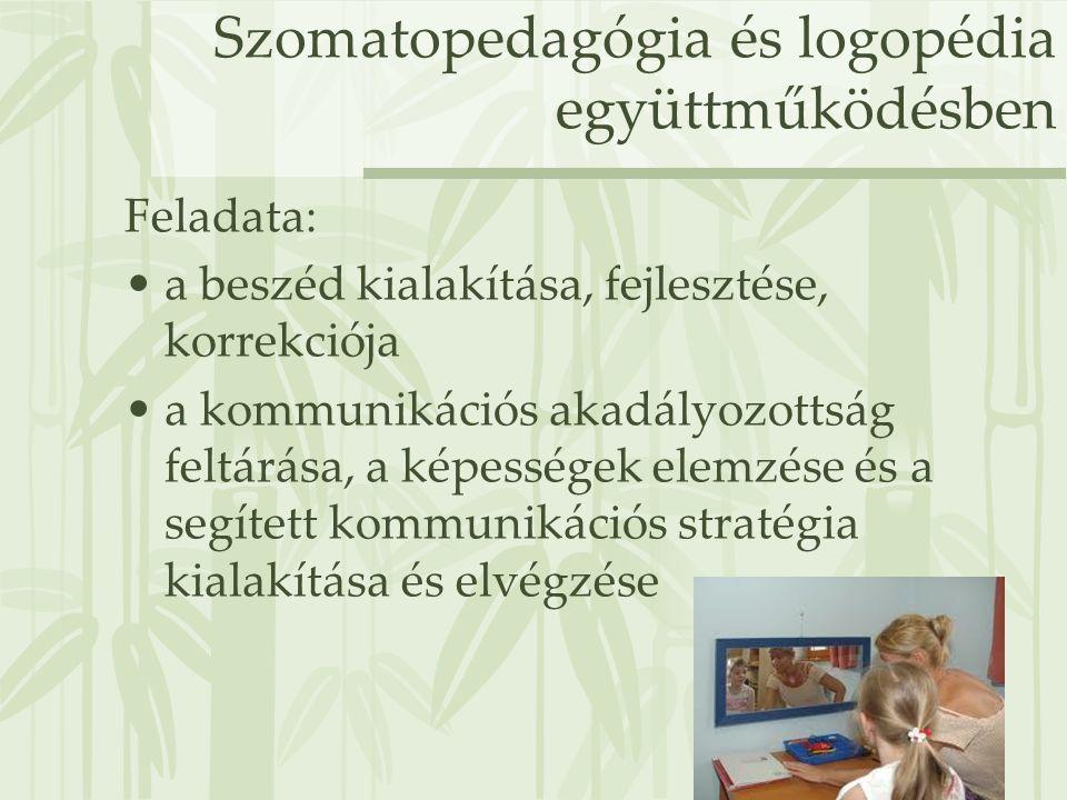Szomatopedagógia és logopédia együttműködésben Feladata: •a beszéd kialakítása, fejlesztése, korrekciója •a kommunikációs akadályozottság feltárása, a
