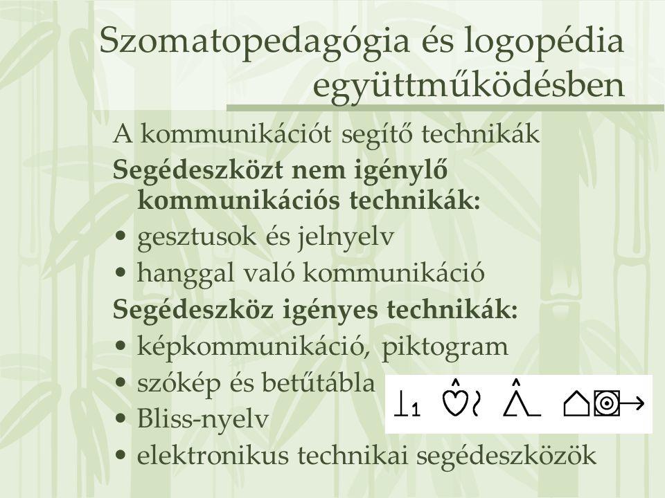 Szomatopedagógia és logopédia együttműködésben A kommunikációt segítő technikák Segédeszközt nem igénylő kommunikációs technikák: •gesztusok és jelnye
