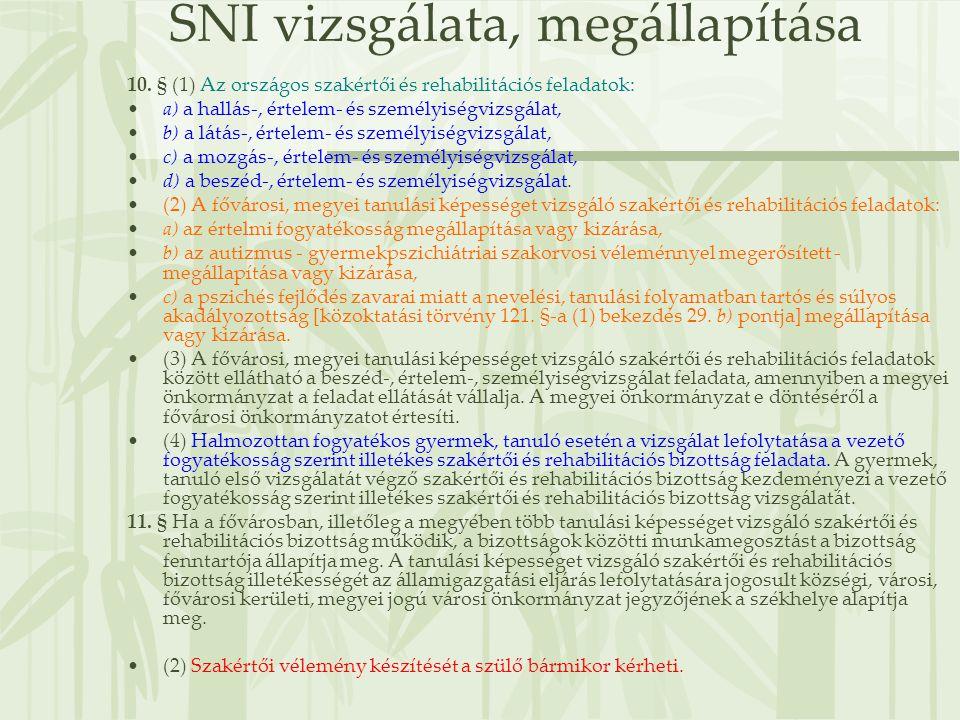 SNI vizsgálata, megállapítása 10. § (1) Az országos szakértői és rehabilitációs feladatok: •a) a hallás-, értelem- és személyiségvizsgálat, •b) a látá