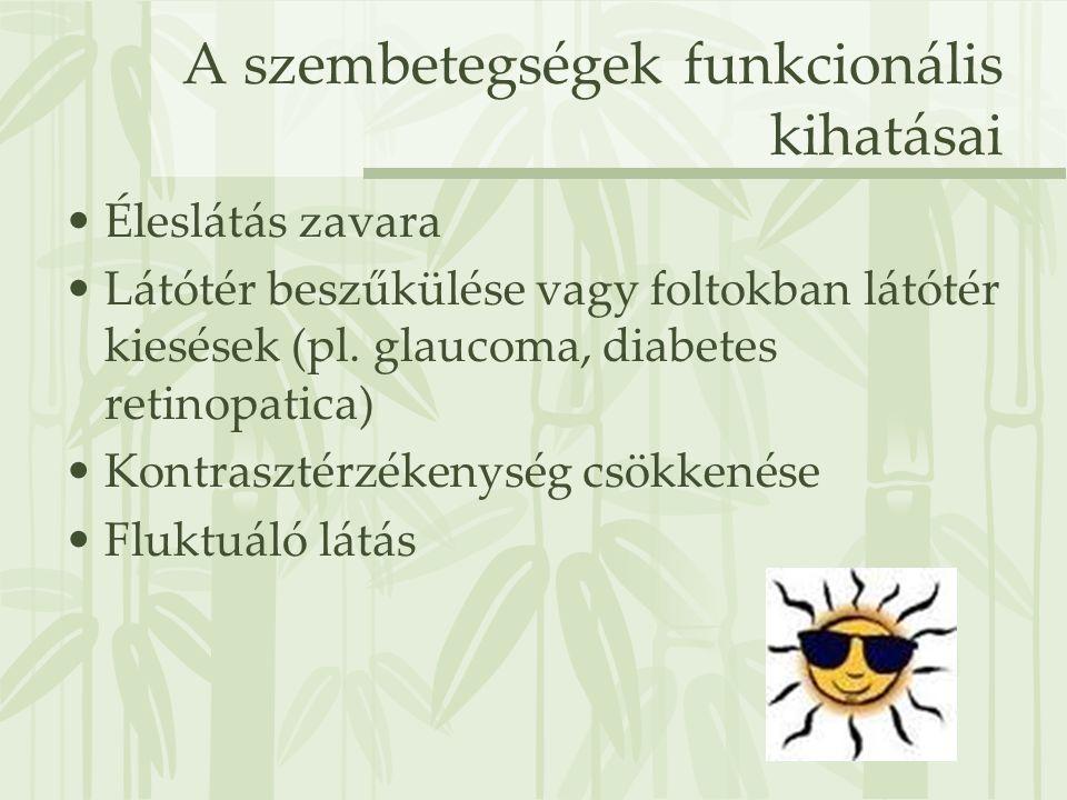 A szembetegségek funkcionális kihatásai •Éleslátás zavara •Látótér beszűkülése vagy foltokban látótér kiesések (pl. glaucoma, diabetes retinopatica) •