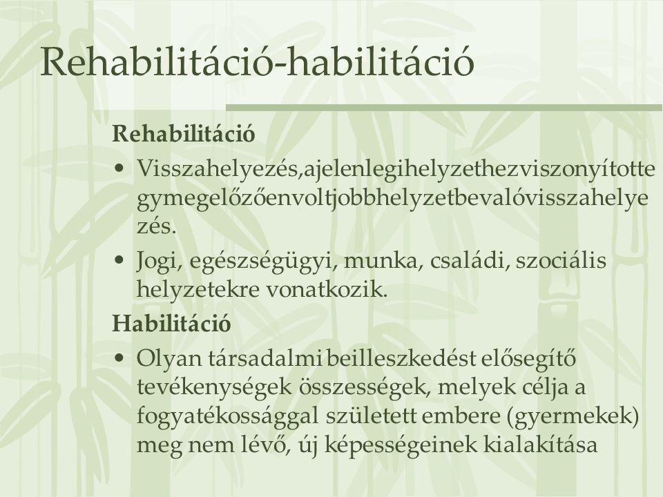 Rehabilitáció-habilitáció Rehabilitáció •Visszahelyezés,ajelenlegihelyzethezviszonyítotte gymegelőzőenvoltjobbhelyzetbevalóvisszahelye zés. •Jogi, egé