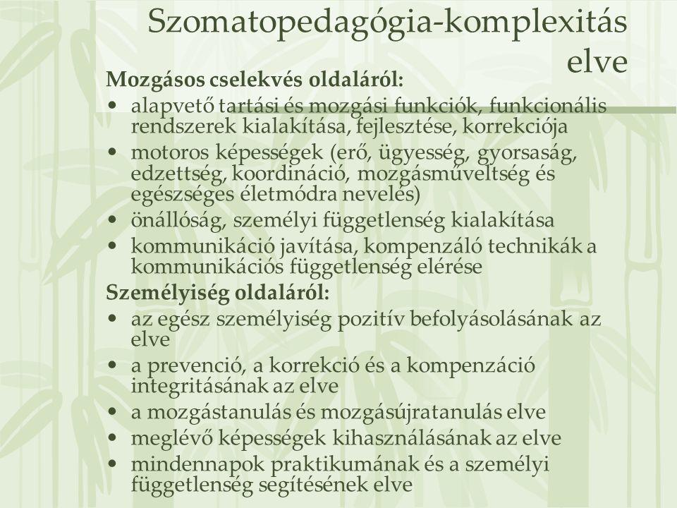 Szomatopedagógia-komplexitás elve Mozgásos cselekvés oldaláról: •alapvető tartási és mozgási funkciók, funkcionális rendszerek kialakítása, fejlesztés