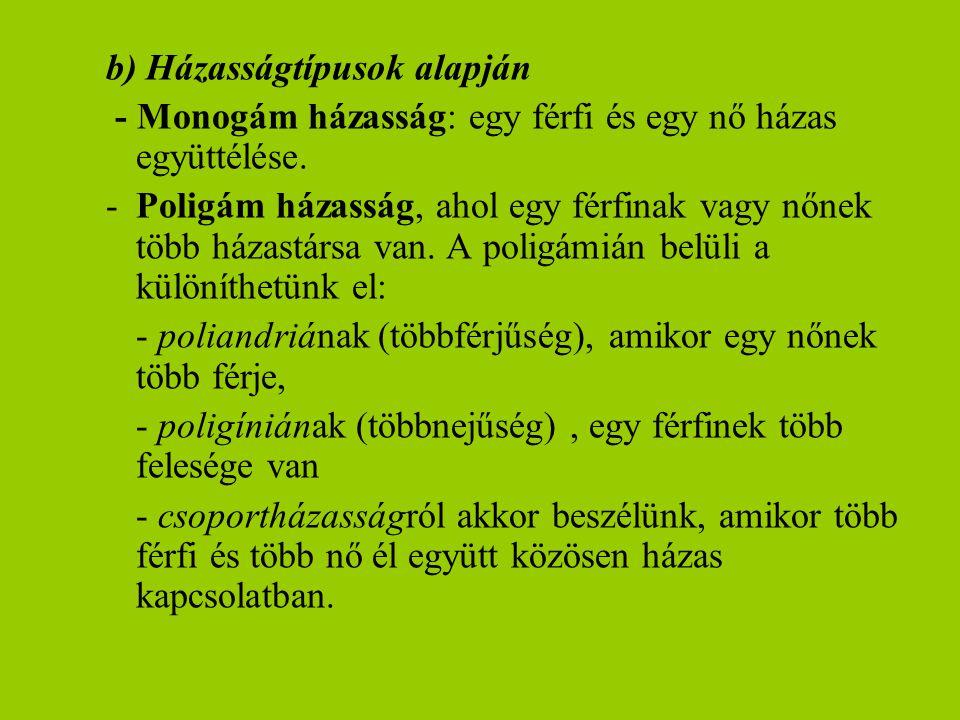 b) Házasságtípusok alapján - Monogám házasság: egy férfi és egy nő házas együttélése. -Poligám házasság, ahol egy férfinak vagy nőnek több házastársa
