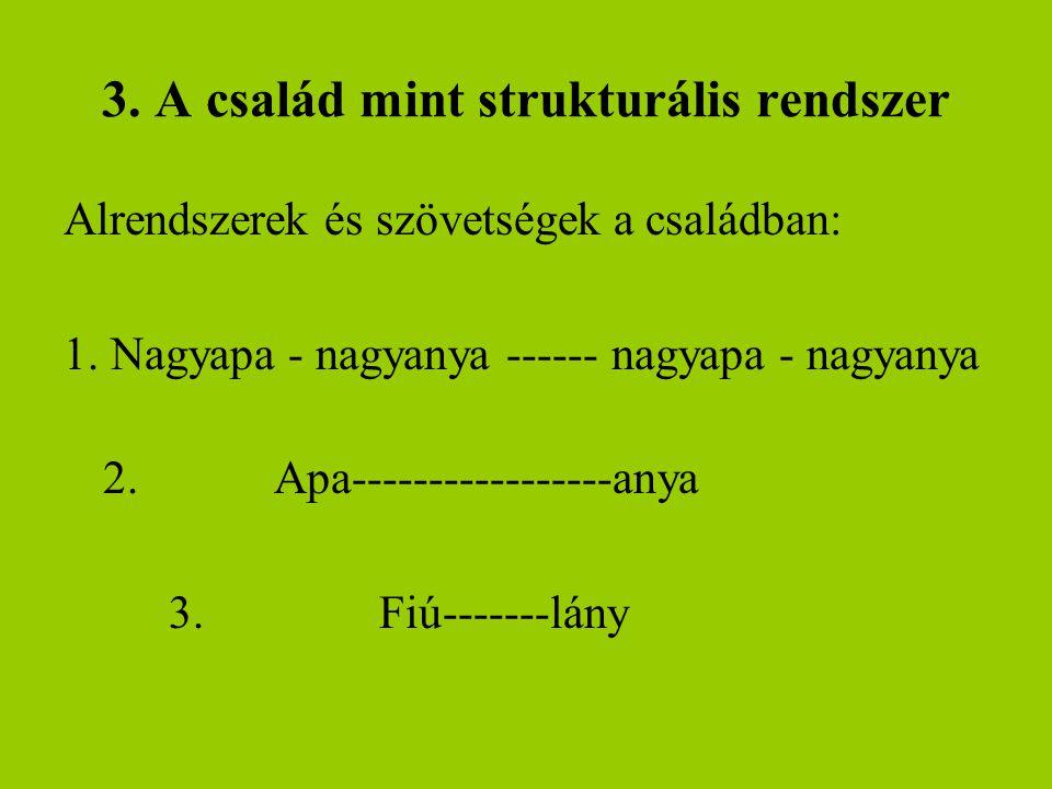 3. A család mint strukturális rendszer Alrendszerek és szövetségek a családban: 1. Nagyapa - nagyanya ------ nagyapa - nagyanya 2.Apa-----------------