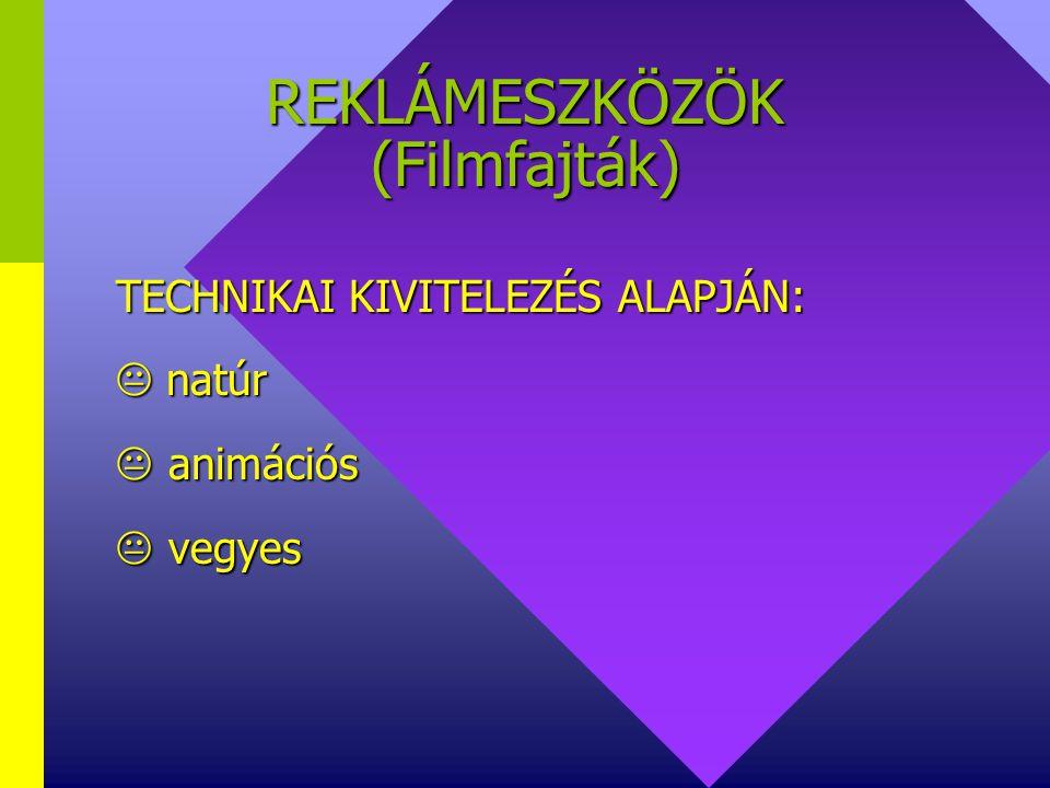 REKLÁMESZKÖZÖK (Filmfajták) MERKETING-FELADAT ALAPJÁN:  REKLÁMFILM  REFERENCIA FILM  GOOD-WILL(PR) FILM