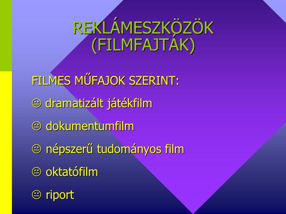 REKLÁMESZKÖZÖK (Filmfajták) TECHNIKAI KIVITELEZÉS ALAPJÁN:  natúr  animációs  vegyes
