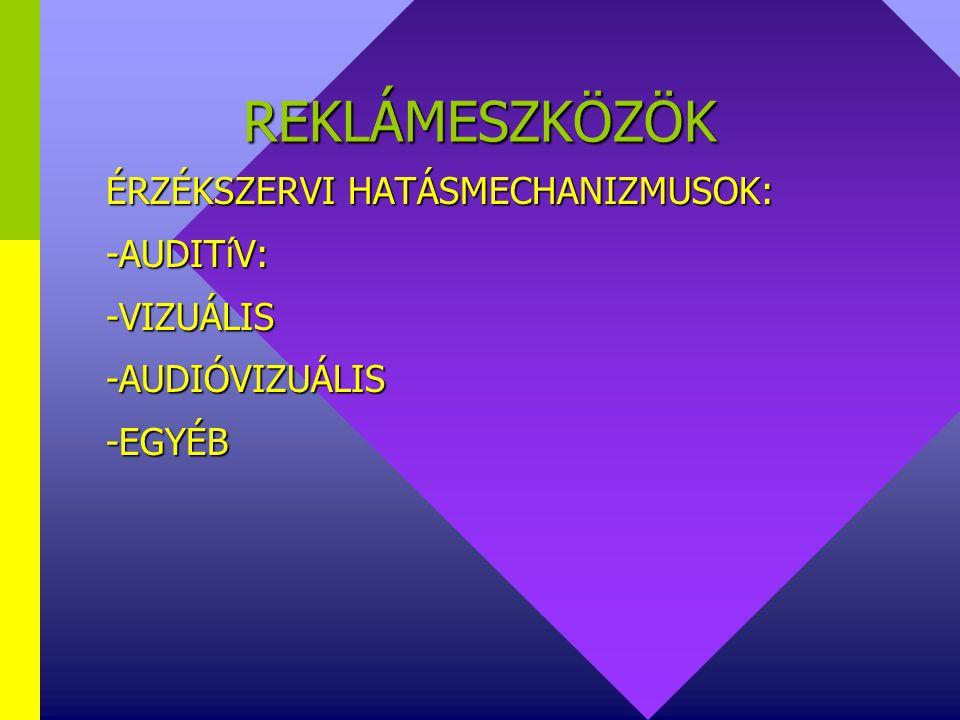 REKLÁMESZKÖZÖK REKLÁMESZKÖZÖK FELOSZTÁSA V: LEÁLLíTHATÓSÁG SZERINT:  GYORSAN LEÁLLíTHATÓ: TV, rádió, napilap, DM, stb.