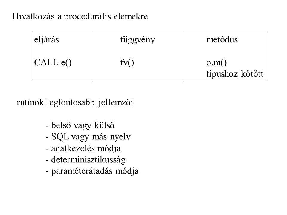 Hivatkozás a procedurális elemekre eljárásfüggvénymetódus CALL e()fv()o.m() típushoz kötött rutinok legfontosabb jellemzői - belső vagy külső - SQL va