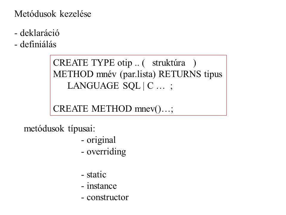 Metódusok kezelése - deklaráció - definiálás CREATE TYPE otip.. ( struktúra ) METHOD mnév (par.lista) RETURNS tipus LANGUAGE SQL | C … ; CREATE METHOD