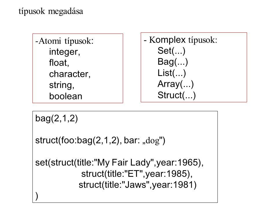 Örökléshez kapcsolódó elemek CREATE TYPE os AS ( ) CREATE TYPE al UNDER os AS () DECLARE v1 os; SET v1 = NEW os(); SET v1 = NEW al(); DECLARE v1 al; SET v1 = NEW al(); helyettesíthetőség elve A strukturált UDT-k példányai értékek és nem objektumok NEW os() NEW os(paramlista) példány létrehozás