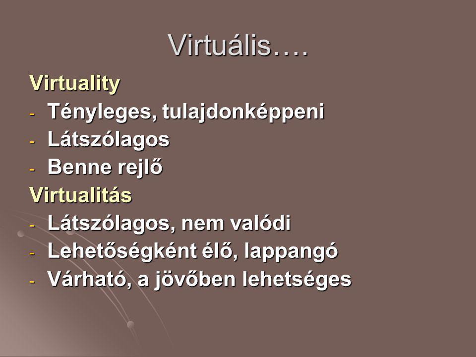 Virtuális…. Virtuality - Tényleges, tulajdonképpeni - Látszólagos - Benne rejlő Virtualitás - Látszólagos, nem valódi - Lehetőségként élő, lappangó -