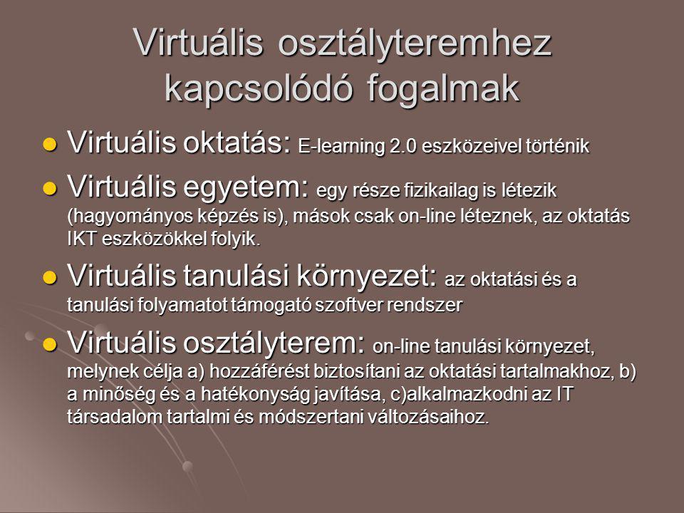 Virtuális osztályteremhez kapcsolódó fogalmak  Virtuális oktatás: E-learning 2.0 eszközeivel történik  Virtuális egyetem: egy része fizikailag is lé