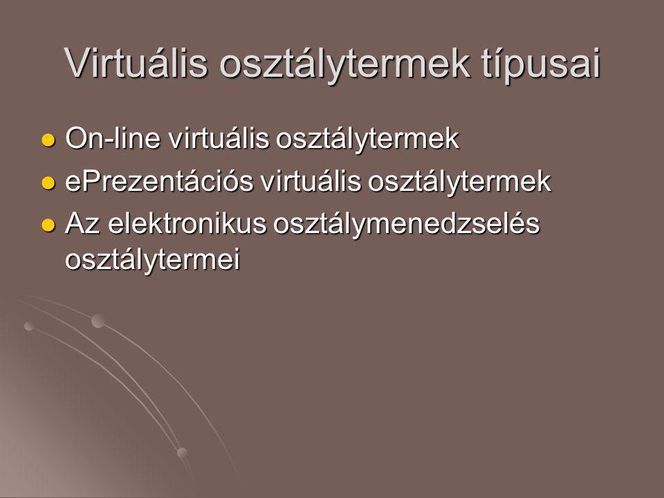 Virtuális osztálytermek típusai  On-line virtuális osztálytermek  ePrezentációs virtuális osztálytermek  Az elektronikus osztálymenedzselés osztály