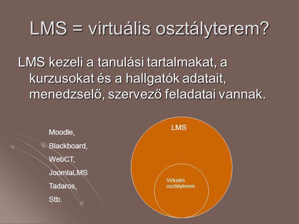 LMS = virtuális osztályterem? LMS kezeli a tanulási tartalmakat, a kurzusokat és a hallgatók adatait, menedzselő, szervező feladatai vannak. LMS Virtu