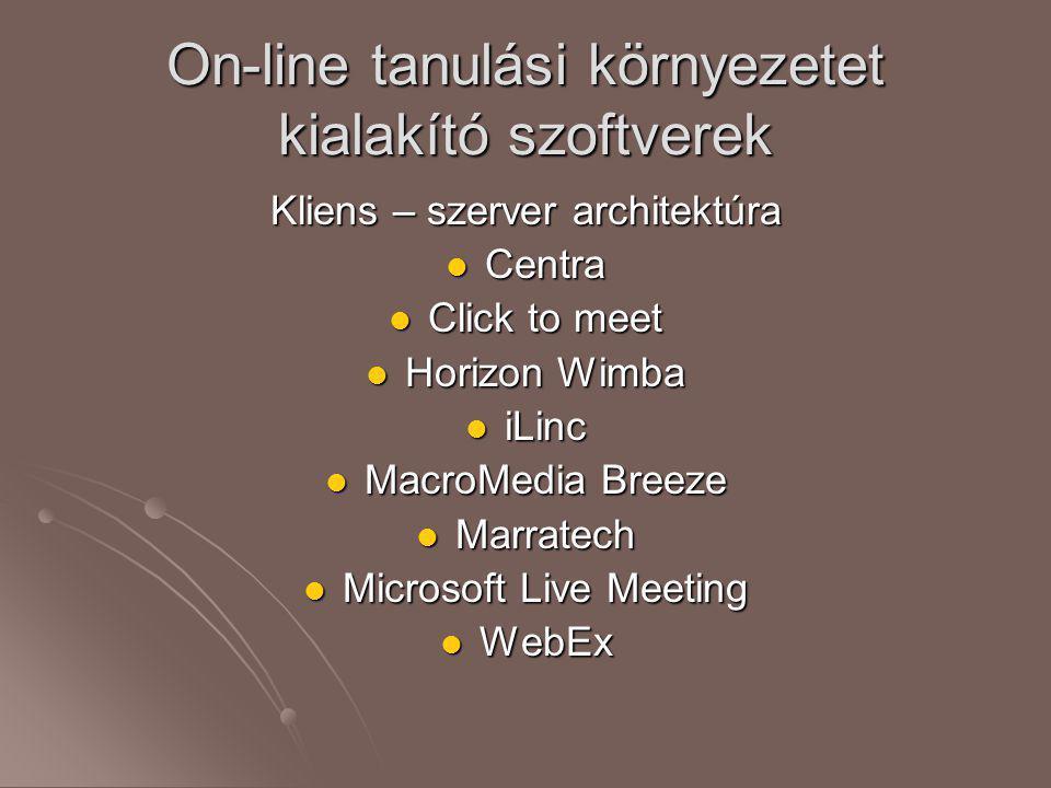 On-line tanulási környezetet kialakító szoftverek Kliens – szerver architektúra  Centra  Click to meet  Horizon Wimba  iLinc  MacroMedia Breeze 