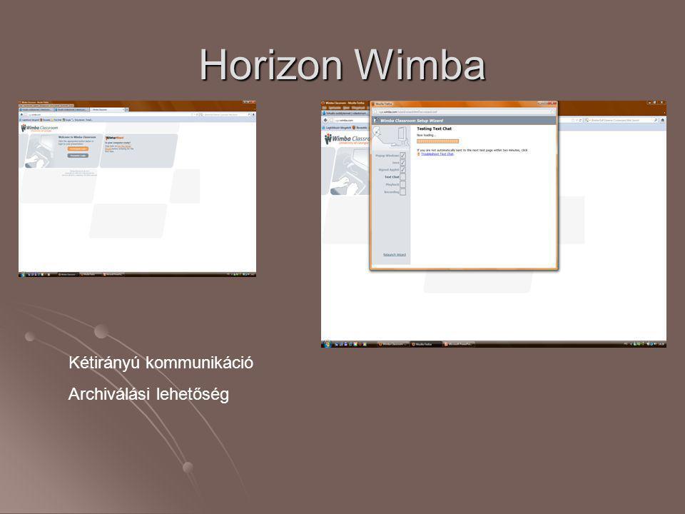 Horizon Wimba Kétirányú kommunikáció Archiválási lehetőség