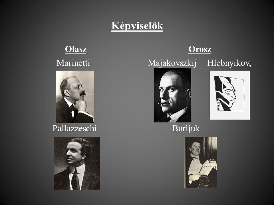Képviselők Olasz Marinetti Pallazzeschi Orosz Majakovszkij Hlebnyikov, Burljuk