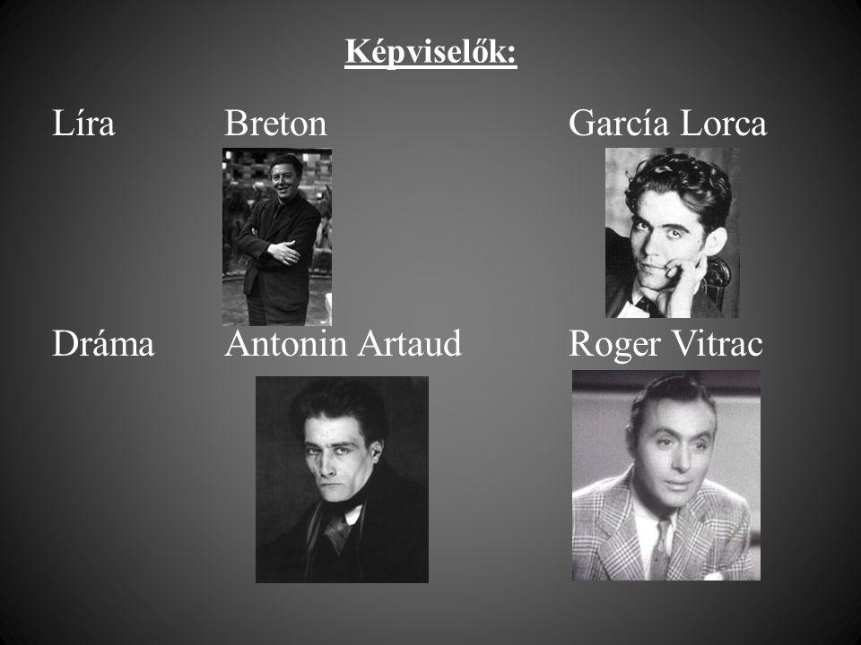 Képviselők: Líra BretonGarcía Lorca Dráma Antonin ArtaudRoger Vitrac