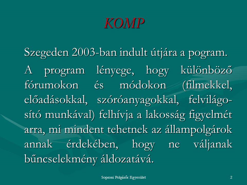 """Soproni Polgárőr Egyesület1 KOrszerű Megelőzési Program = KOMP, amely """"egy biztonságosabb jövőbe visz ."""
