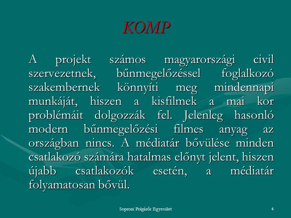 Soproni Polgárőr Egyesület3 KOMP A program keretében elkészített kisfilmek korunk jellemzően elkerülhető bűncselek- ményeinek megelőzésére szolgálnak.
