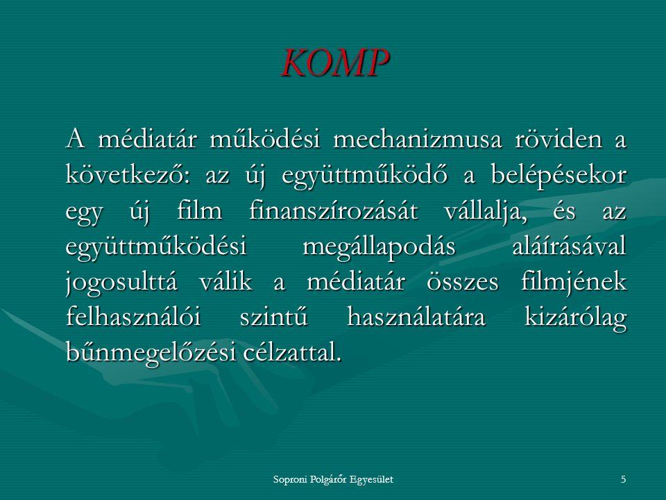 Soproni Polgárőr Egyesület4 KOMP A projekt számos magyarországi civil szervezetnek, bűnmegelőzéssel foglalkozó szakembernek könnyíti meg mindennapi munkáját, hiszen a kisfilmek a mai kor problémáit dolgozzák fel.